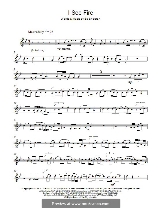 I See Fire (from The Hobbit): For alto saxophone by Ed Sheeran