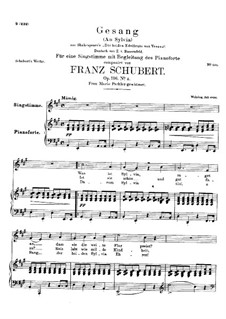 An Sylvia (To Sylvia), D.891 Op.106 No.4: For high voice and piano by Franz Schubert