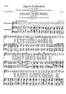 Jägers Liebeslied (Huntsman's Love Song), D.909 Op.96 No.2: For high voice and piano by Franz Schubert