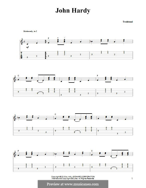 John Hardy: For guitar with tab by folklore