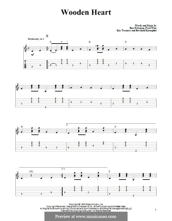 World We Knew (Over and Over): For guitar with tab by Ben Weisman, Bert Kaempfert, Fred Wise, Kay Twomey