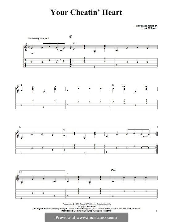 Your Cheatin' Heart: For guitar with tab by Hank Williams