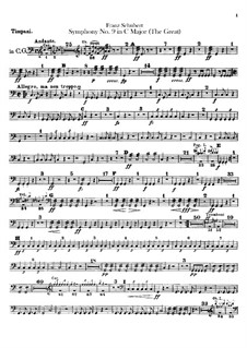Symphony No.9 in C Major 'The Great', D.944: Timpani part by Franz Schubert