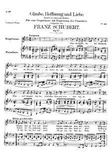 Glaube, Hoffnung und Liebe (Faith, Hope and Love), D.955 Op.97: For high voice and piano by Franz Schubert