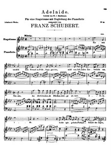 Adelaide, D.95: For voice and piano (A flat Major) by Franz Schubert