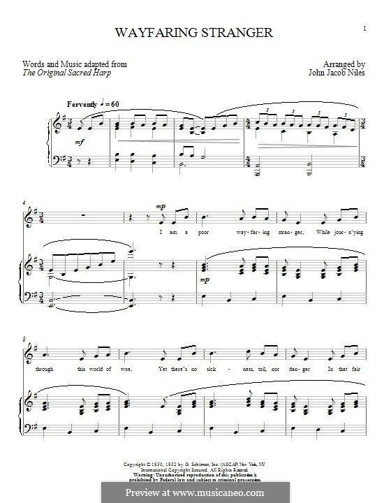 Wayfaring Stranger: For voice and piano by Unknown (works before 1850)