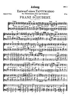 Tantum ergo in E Flat Major, D.962: Supplement. Vocal score by Franz Schubert