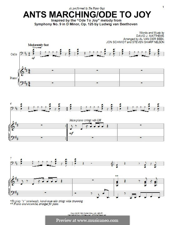 Ants Marching/Ode to Joy (The Piano Guys): For piano by David J. Matthews