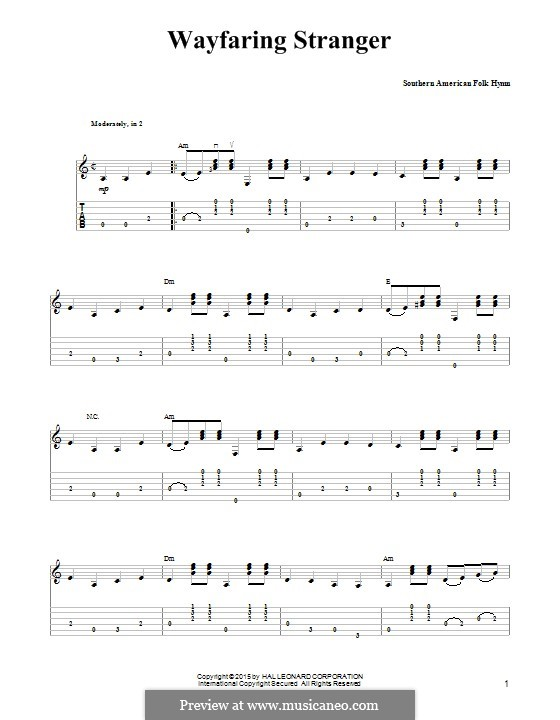 Wayfaring Stranger: For guitar with tab by folklore