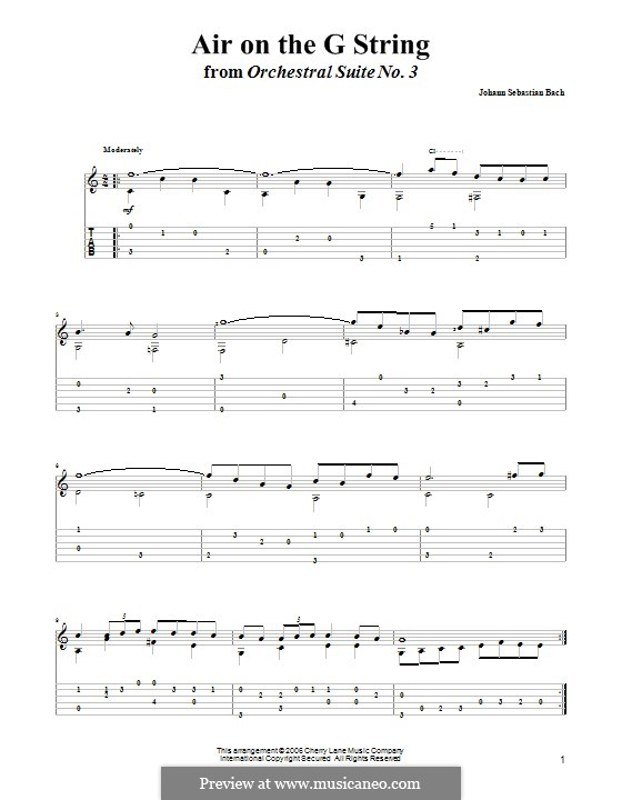 Aria (Printable Scores): Version for guitar with tab by Johann Sebastian Bach
