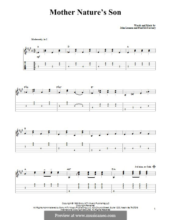 Mother Nature's Son (The Beatles): For guitar with tab by John Lennon, Paul McCartney