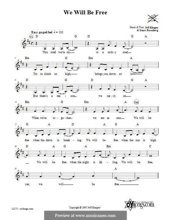 We Will Be Free: Lyrics and chords by Jeff Klepper