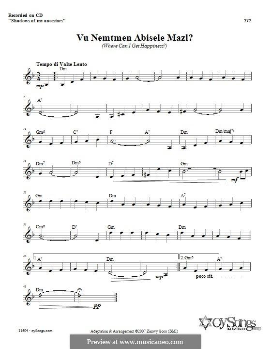 Vu Nemtmen Abisele Mazl?: Lyrics and chords by Zinovy Goro