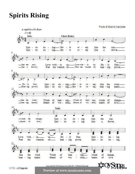 Spirits Rising: Lyrics and chords by Lisa Levine
