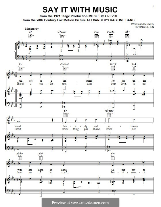 Say It with Music: For voice and piano (or guitar) by Irving Berlin