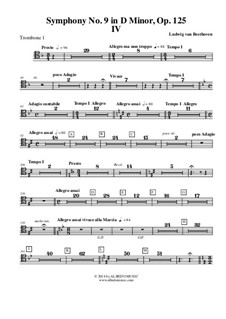 Movement IV: Trombone in Tenor Clef 1 (Transposed Part) by Ludwig van Beethoven