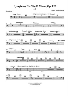 Movement IV: Trombone in Bass Clef 1 (Transposed Part) by Ludwig van Beethoven