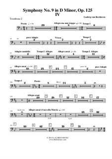 Movement IV: Trombone in Bass Clef 2 (Transposed Part) by Ludwig van Beethoven