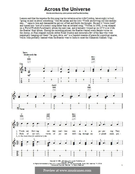 Across the Universe (The Beatles): For ukulele by John Lennon, Paul McCartney