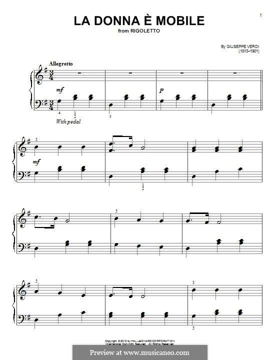 La donna è mobile (Over the Summer Sea): For piano by Giuseppe Verdi