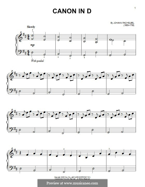 Canon in D Major (Printable): For piano by Johann Pachelbel