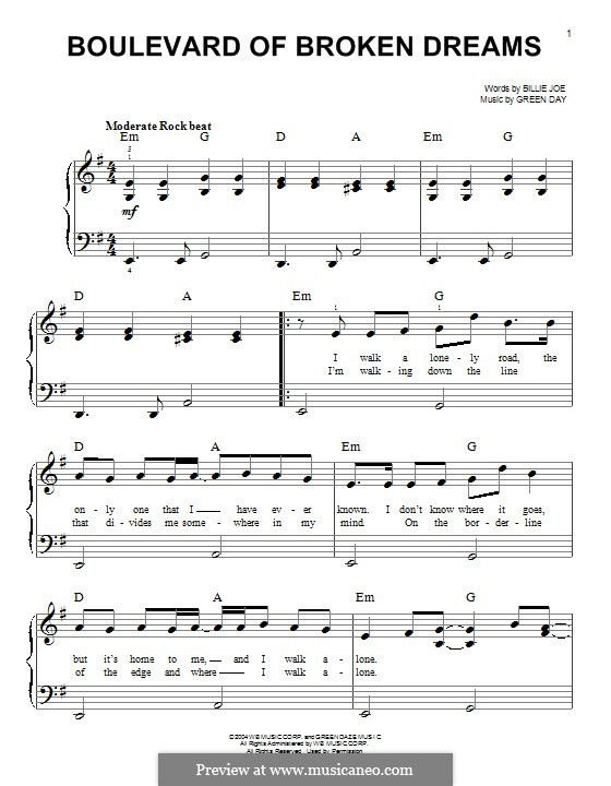 Boulevard of Broken Dreams (Green Day): For piano by Billie Joe Armstrong, Tré Cool, Michael Pritchard