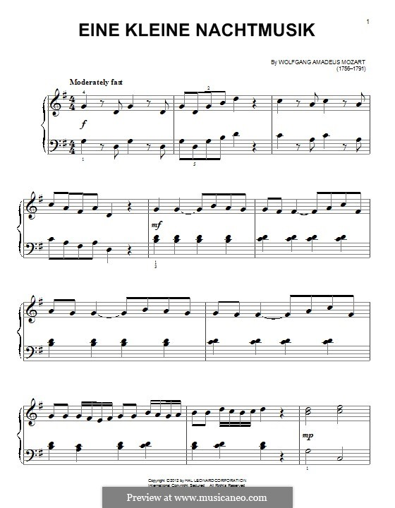 Allegro, version for piano: For a single performer by Wolfgang Amadeus Mozart