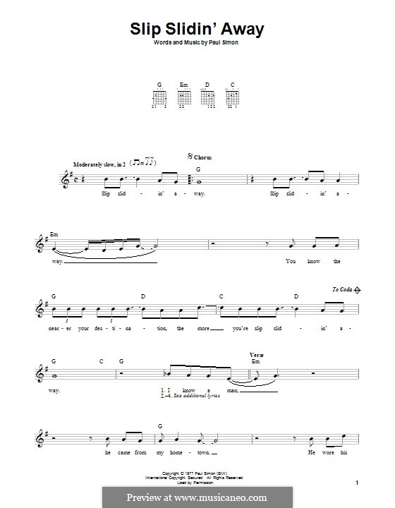 Slip Slidin Away By P Simon Sheet Music On Musicaneo