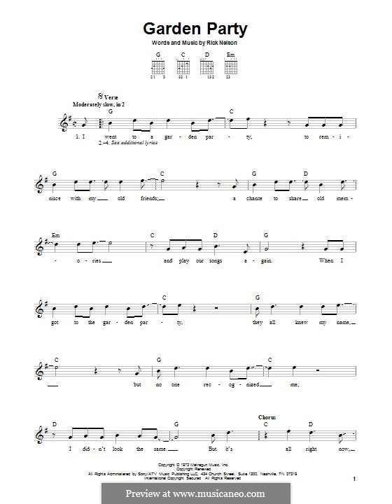 Garden Party: For guitar with tab by Rick Nelson