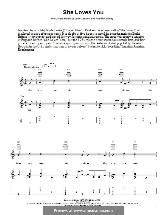 She Loves You (The Beatles): For ukulele by John Lennon, Paul McCartney