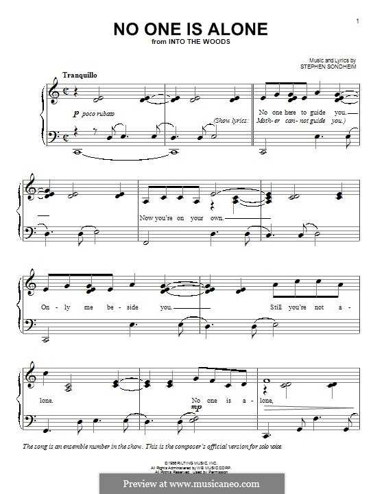 No One Is Alone (from 'Into the Woods'): For piano by Stephen Sondheim