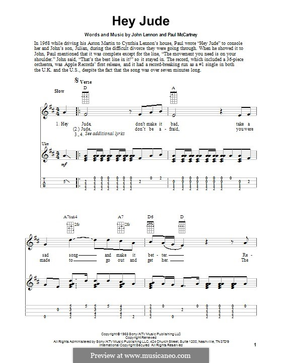 Hey Jude (The Beatles): For ukulele by John Lennon, Paul McCartney