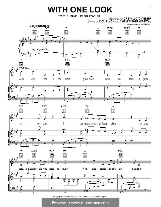 With One Look: For voice and piano (or guitar) by Andrew Lloyd Webber
