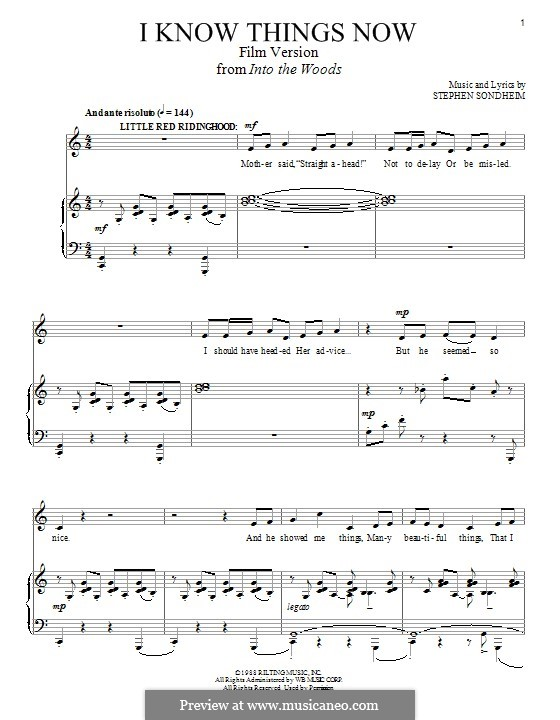 I Know Things Now (from 'Into the Woods - Film Version'): For voice and piano by Stephen Sondheim