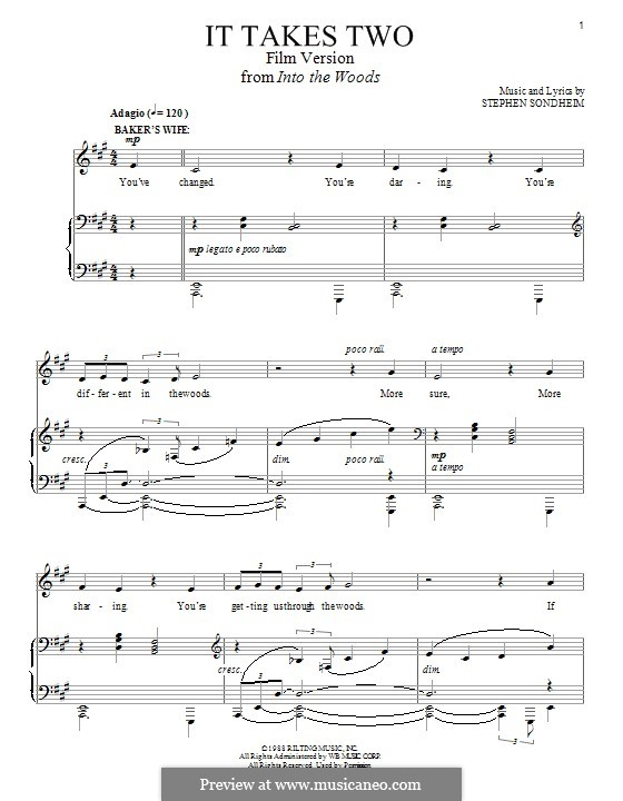 It Takes Two (from 'Into the Woods - Film Version'): For voice and piano by Stephen Sondheim