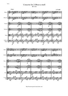 Concerto for Two Oboes and String Orchestra in A Minor, RV 536: Score and all parts by Antonio Vivaldi