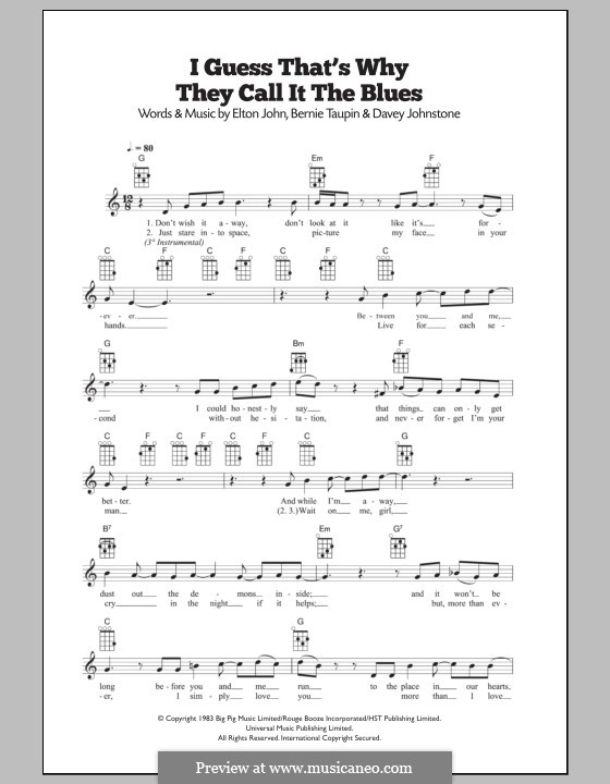 I Guess That's Why They Call It the Blues: For ukulele by Davey Johnstone, Elton John