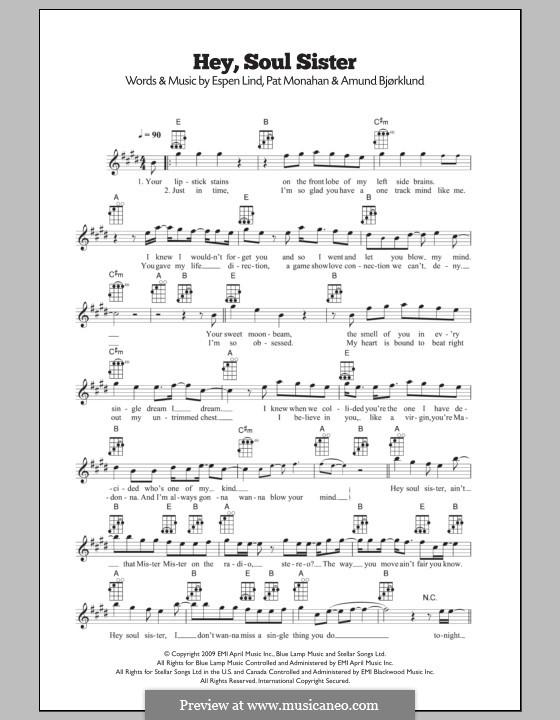 Hey, Soul Sister (Train): For ukulele by Amund Bjorklund, Espen Lind, Patrick Monahan