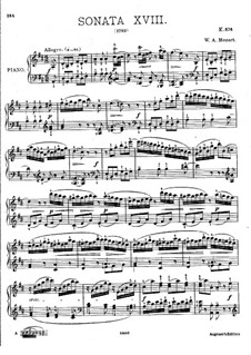 Sonata for Piano No.18 in D Major, K.576: For a single performer by Wolfgang Amadeus Mozart