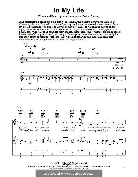In My Life (The Beatles): For ukulele by John Lennon, Paul McCartney