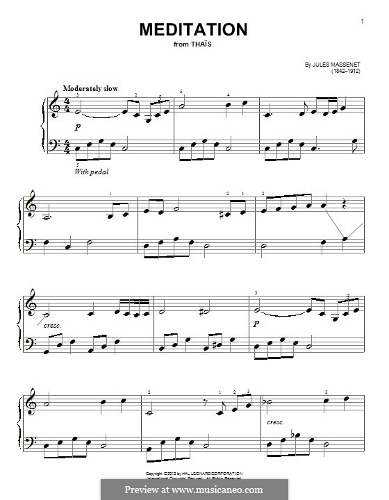Meditation: For piano by Jules Massenet