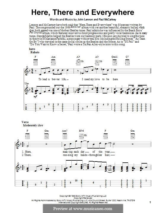 Here, There and Everywhere (The Beatles): For ukulele by John Lennon, Paul McCartney