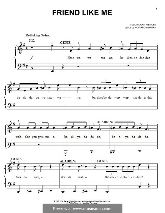 Friend Like Me (from Aladdin): For piano by Alan Menken