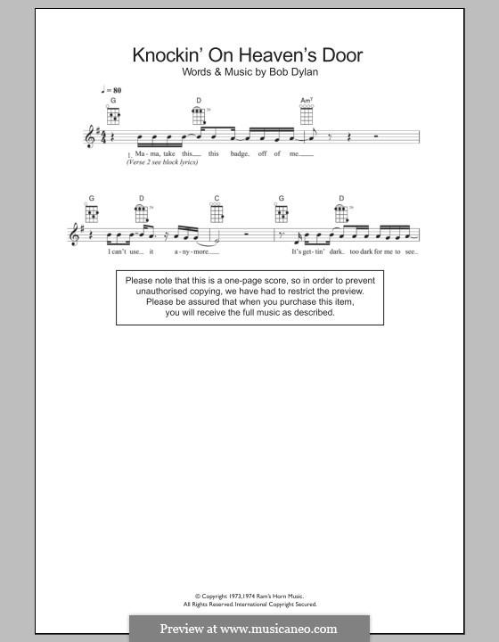 Knockin' on Heaven's Door: For ukulele by Bob Dylan
