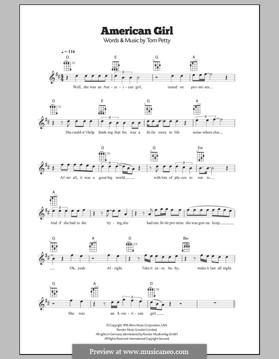 American Girl by T. Petty - sheet music on MusicaNeo