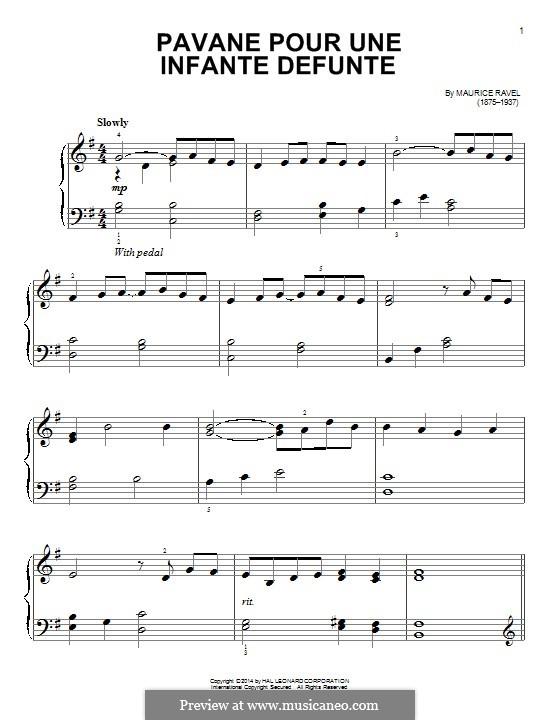 Pavane pour une infante défunte (Pavane for a Dead Princess), M.19: For easy piano (fragment) by Maurice Ravel