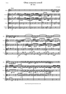 Concerto for Oboe and Strings in A Minor, RV 462: Score and all parts by Antonio Vivaldi