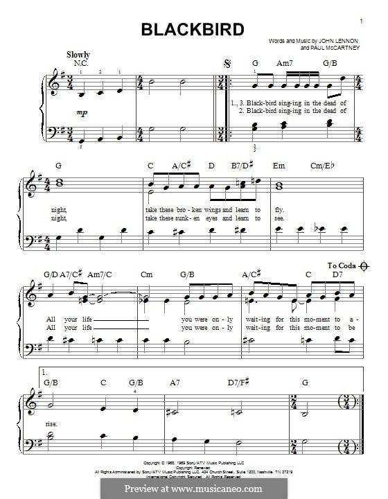 Blackbird (The Beatles): For piano by John Lennon, Paul McCartney