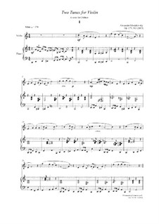 Two tunes for Violin, Op.179 No.3: Two tunes for Violin by Alexander Khodakovsky