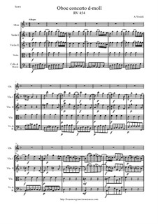 Concerto for Oboe and Strings in D Minor, RV 454: Score and all parts by Antonio Vivaldi